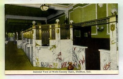 INTERIOR View Wells County Bank Bluffton INDIANA  *OLD EARLY*