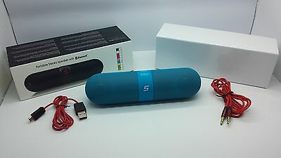 Lot Of 3 New Bluetooth Smooth Portable Stereo Speaker Wireless Universal Blue