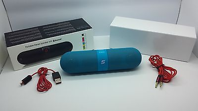 Lot Of 2 New Bluetooth Smooth Portable Stereo Speaker Wireless Universal Blue