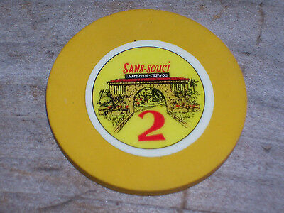 VINTAGE ROULETTE GAMING CHIP FROM THE SANS SOUCI'S CARIBBEAN CASINO
