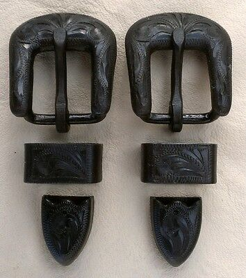 """2 - 5/8"""" Hand Engraved / Handmade Iron Buckle Sets - Spur Straps Headstall"""