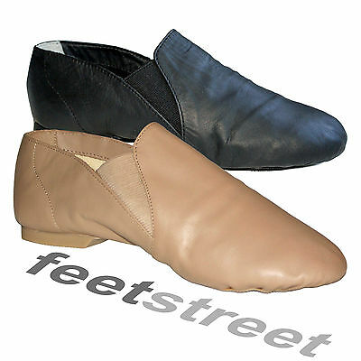 Black, Tan/ Nude  Leather Slip-On Split Sole Jazz Shoes  Childs 9 - Adults 8