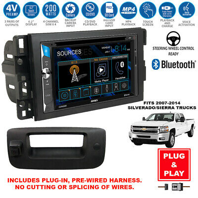 Double DIN Bluetooth USB Stereo+Backup Camera+Chevy Pickup Truck Radio Dash Kit