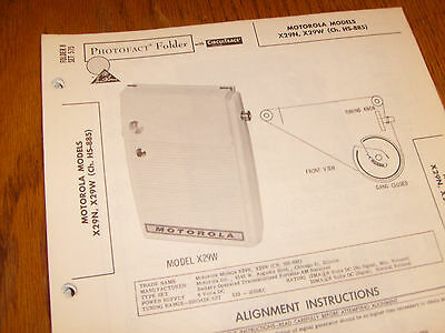 Motorola model X29N,X29W Photofact Folder,transistor radio