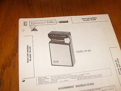 Trav-Ler model TR-600,TR-601 Photofact Folder,transistor radio
