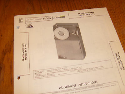 Trans-American model SR-6T60 Photofact Folder,transistor radio