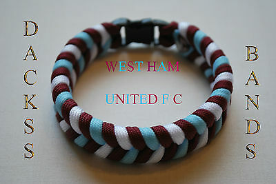 West Ham Utd The Hammers Upton Park Premiership Football Team Paracord WristBand