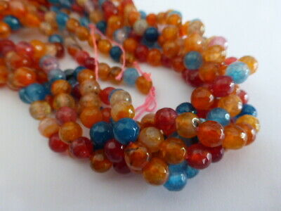 "6mm Natural Agate Faceted Round Beads Red Orange Mixed Colours (15.5"" Strand)"