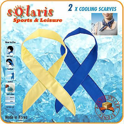2x Neck Cooling Scarf/Bandana/Headband Body Cooler for Sports Outdoor Gym