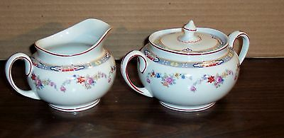 """WM GRINDLEY ENGLAND DRESDEN CREAMER AND COVERED SUGAR 3.5""""H"""