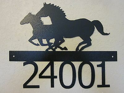 Custom Running Horses House Number Textured Black Powder Coat Finish
