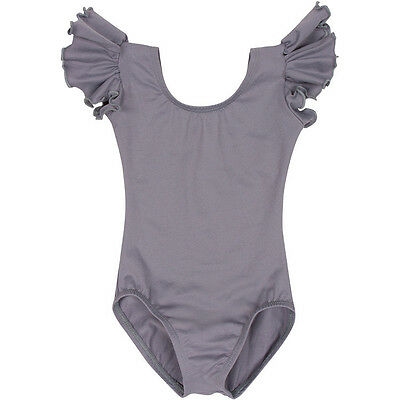 GRAY Toddler & Girls Flutter / Ruffle Short Sleeve Leotard