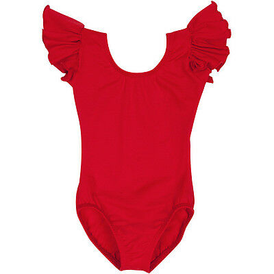 RED Toddler & Girls Flutter / Ruffle Short Sleeve Leotard