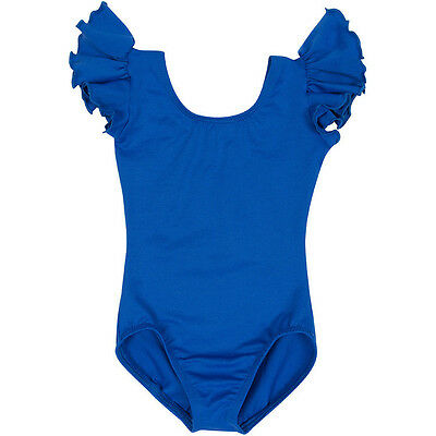 ROYAL BLUE Leotard with Flutter / Ruffle Short Sleeve for Toddler & Girls