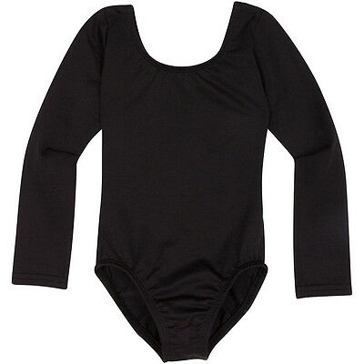 BLACK Long Sleeve Leotard for Toddler and Girls - Nylon