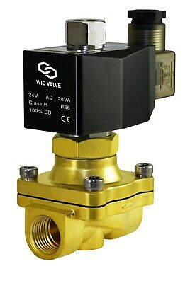 """1/2"""" Normally Open Brass Air Water Zero Pressure Electric Solenoid Valve 24V AC"""