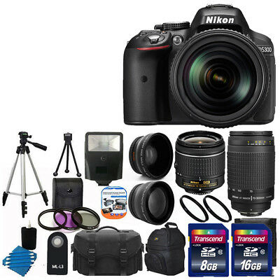 NEW Nikon D5300 Digital SLR Camera w 4 Lens Complete DSLR Kit 24GB TOP VALUE!
