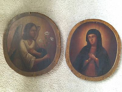 Russian Vintage Oil Paintings on Wood, religious Icons (Angel)