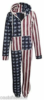 Kids Girls Boys Usa Flag American 1Onesie All In One Hooded Jumpsuit 4-13 Yrs