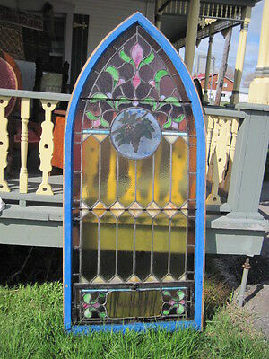 Antique Stained Glass Window With Grape Design , Arch Top  , Great Condition