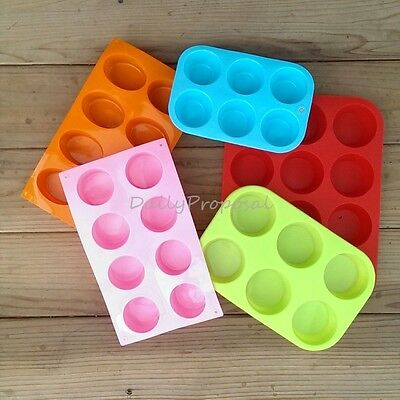 Round Oval Circular Silicone Mold Soap Cake Chocolate Candy Muffin Cupcake Pop