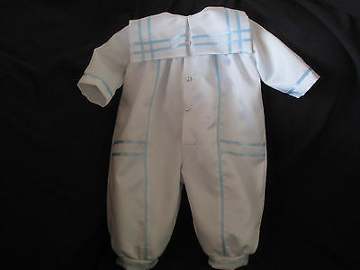 94cbfd1f4 Baby Boys White Satin Christening Romper/ Baptism Outfit Size NB 3 6 12  Months