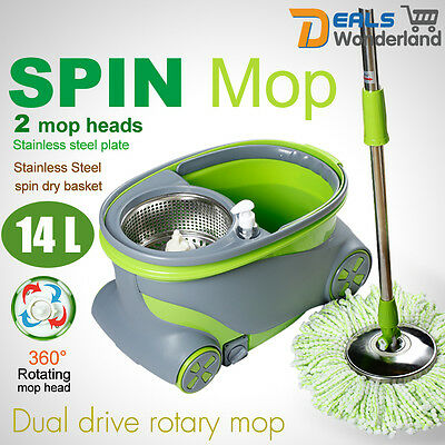 360° Rotation Spinning Mop & Stainless Steel Spin Dry Bucket + 2 Mop Heads