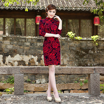 Traditional Oriental dress Velvet  Chinese Cheongsam Qipao with Peony Flower Red