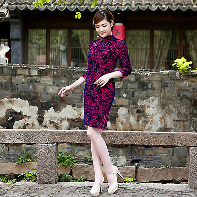 Oriental Velvet Chinese Cheongsam Chegong-sam Qipao Dress in Peony Flower purple
