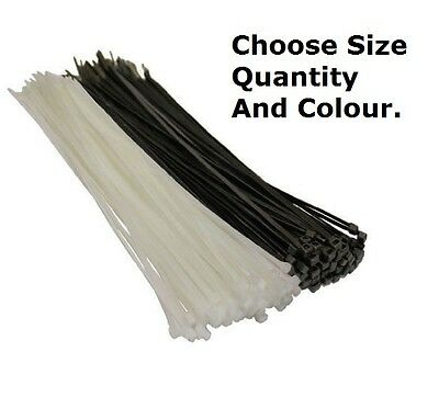 Black White Natural Cable Ties Tie Wraps Raps Zip Ties 100mm 200mm 300mm
