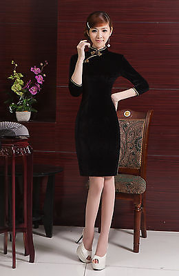 Velvet Chinese Cheongsam Chegong-sam Qipao Dress black color-Fast Ship from USA