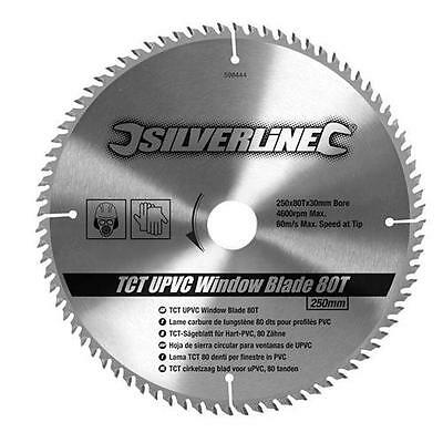 Silverline TCT UPVC Window Blade 80T 250x30-25 20 16mm rings Skill Saw 598444