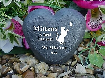 Cat Memorial Heart - Stone Effect - Personalised - Chasing Butterfly Design