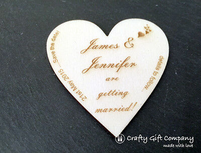 Personalised Save the Date hearts wedding wood