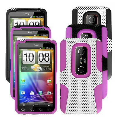 Mesh Hybrid Hard Soft Silicone Rubber Gel Case Cover For HTC EVO 3D