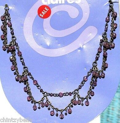 """Claire's 14"""" Adjustable Pewter Tone Necklace with Iridescent Clear Pink Beads"""