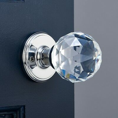 Clear Glass Crystal Faceted Mortice Internal Turning Door Knob Handle Pair