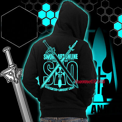 Anime Sword Art Online Kirito Luminous Jacket Sweatshirt Unisex Hoodie Coat#6-18