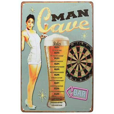 Man Cave Rules Retro Metal Tin Sign Homewares Bar Decor Kitsch Pin Up Pub Garage