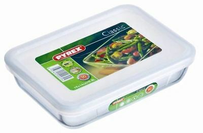 Pyrex Rectangular Glass Oven Dish Storage Bowl With Plastic Lid Cooking 2.6L