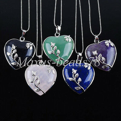 Natural Gemstone Heart Silver Flower Reiki Chakra Pendant Beads Necklaces MBN074
