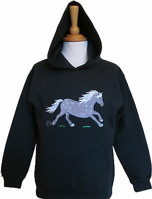British Country Collection Navy Blue Dapple Pony Embroidered Cotton Blend Hoodie