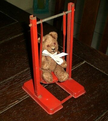 TIN PLATE SWING ANTIQUE TEDDY BEAR OLD