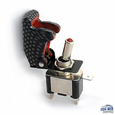 Interruttore aeronautico Kill Switch engine starter nero/bianco LED rosso max20A