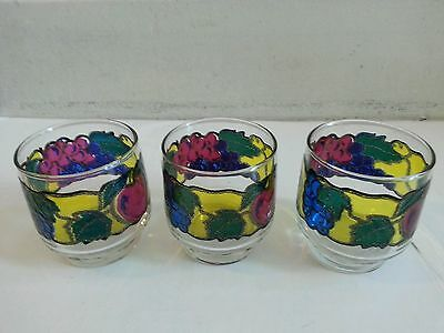 Libbey Royal Optic Stackables Set 3 Multi - Colored Low Ball Glasses