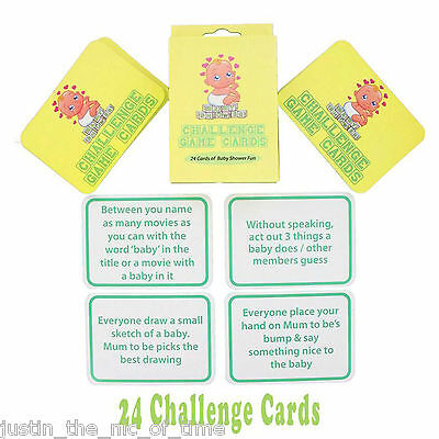 BABY SHOWER CHALLENGE PARTY GAME 24 CARDS Boy Girl Unisex