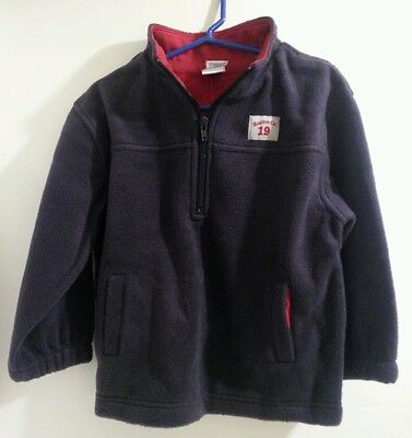 New Gymboree Boys Firehouse No 5 Navy & Red Fleece Pullover Shirt Jacket Coat 4