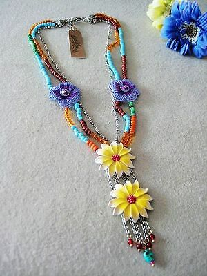 Lucky Brand Colorful Beads Chain Floral Spring Beautiful Necklace