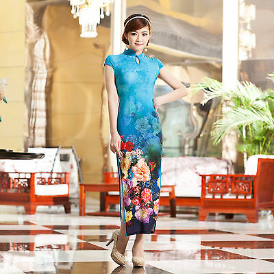 Long Chinese Cheongsam Qipao Dress Blue Color-Fast Ship from IL US