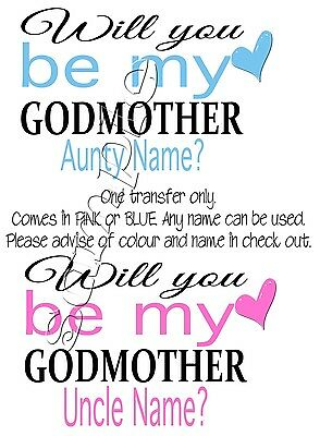 Iron On Transfer Godmother Godfather Godparent Pink Blue Personalised 13X9Cm